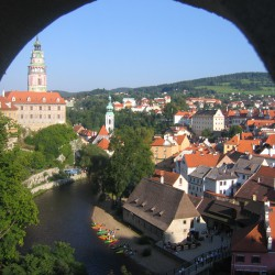 Blick vom Schloss auf die Stadt Cesky Krumlow