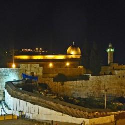 Klagemauer und Tempelberg bei Nacht Jerusalem israel