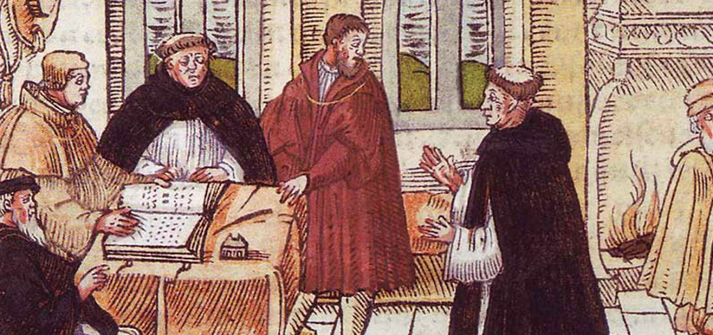 Luther vor in Augsburg vor Kardinal Cajetan | kolorierter Holzschnitt 1557 (Ausschnitt)