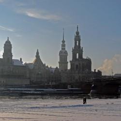 Brühlsche Terrasse im Winter Dresden